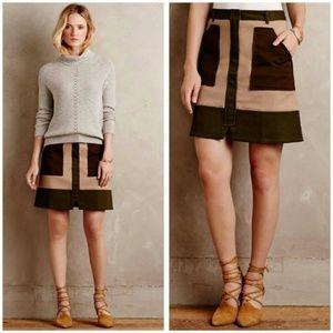 Anthropologie Khaki Utility Flare Mini Skirt 8